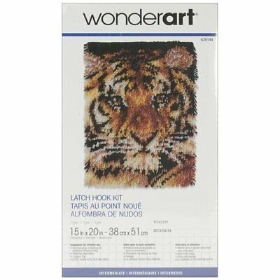 """Tiger Cub Latch Hook Kit By Caron 15x20"""" comes with paper chart and tool"""