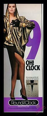 1986 Print Ad~Round the Clock~Pantyhose~9:00~Collect all hours!~1980s~K100
