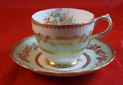GROSVENOR Fine Bone China Cup and Saucer Green with Flowers