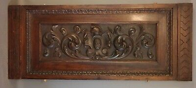 LG Antique 19thC VICTORIAN CARVED Wood HELMET CREST Panel ARCHITECTURAL SALVAGE