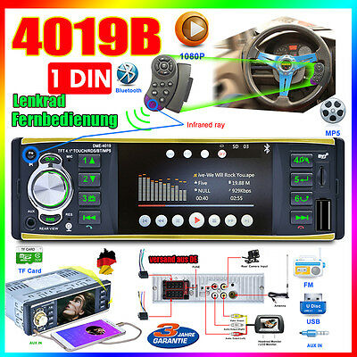 4.1Zoll 1 DIN AutoRadio BT MP5 Player Car radio Steering Wheel Remote Control DE