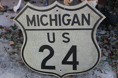 Antique Michigan State Highway 24 Shield Sign