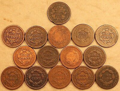 Genuine USA Large Cents BIg Pennies Coins Lot 15