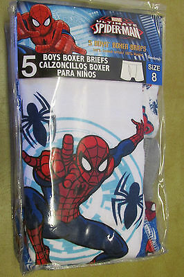 NIP Pack of 5 Boys Size 8 Spiderman Boxer Briefs Marvel By Handcraft