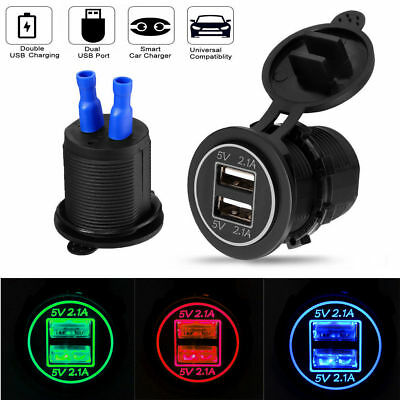12V/24 Dual USB Port Car Cigarette Lighter Socket Splitter Charger Power Adapter