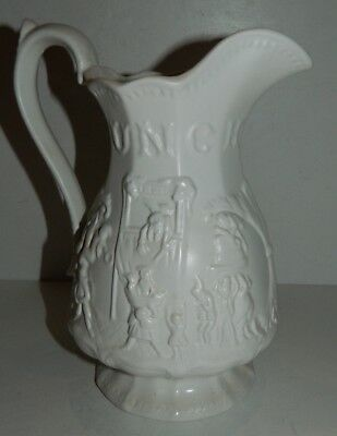 Vintage Large Ceramic Pitcher - White w/ PUNCH Reliefs
