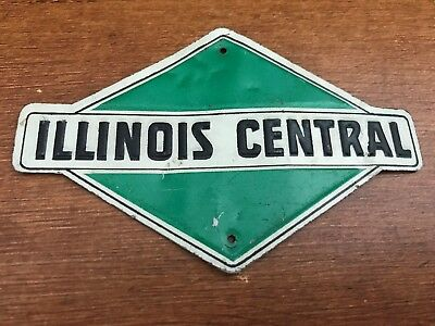 Old Illinois Central Railroad Metal Train Sign! Free Shipping! Signs! Look! Ic