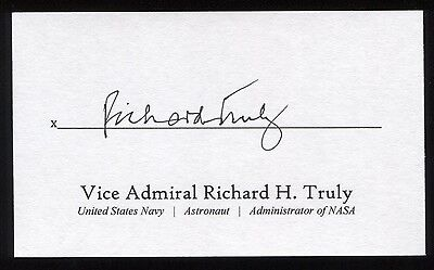 Richard H. Truly Signed 3x5 Index Card Signature Autographed NASA Astronaut