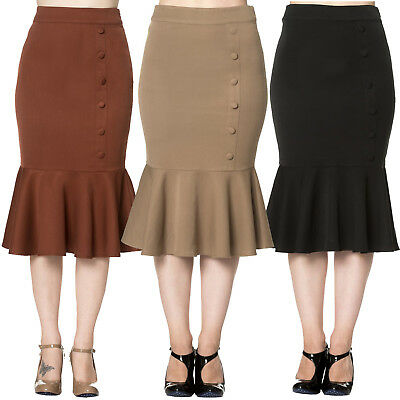 Dancing Days Retro Rockabilly Vintage Fitted Marmaid Career Wiggle Pencil Skirt