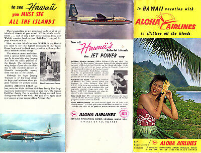 Aloha Airlines Vintage Travel Brochure Hawaii Vacations Photos Pictorial Map