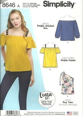Simplicity 8646 Misses' Size Xxs-Xxl  Knit Tops Sewing Pattern