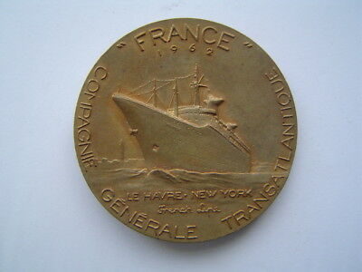 MEDAILLE bronze : PAQUEBOT FRANCE / FRENCH LINE - CGT / MARIANNE / COEFFIN 1962