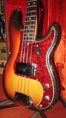 Vintage Original 1969 Fender Precision Electric Bass Guitar Sunburst W/ OHSC