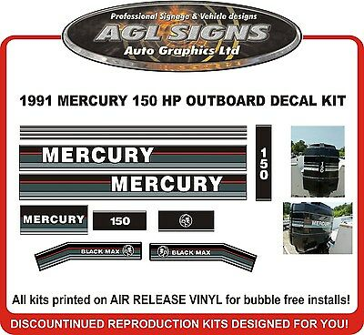1991 1992 1993  MERCURY 150 Black Max Reproduction Decal 135 hp also
