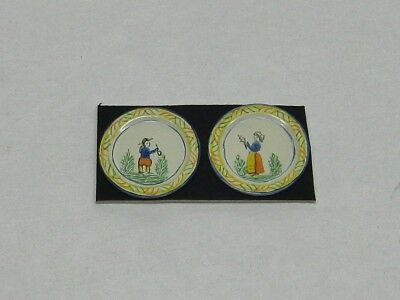 Dollhouse Miniature Hand Painted Quimper Pair of Medium Plates from England