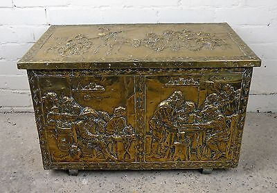 Antique 19th Century Large Embossed Brass Coal / Kindling Box (B13)