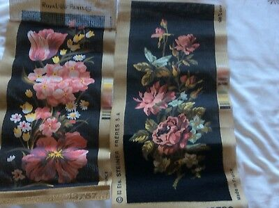 """2 X TAPESTRY CANVAS PANELS ROYAL PARIS TULIP AND ROSES 19"""" By 7.5"""" One Part Done"""