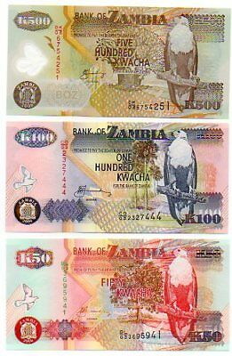 LOOK !    ZAMBIA  - 3  great different  UNC  50  & 100 paper  +  500 kw Polymer