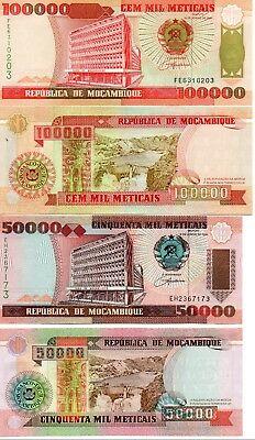 MOZAMBIQUE - 2  great   UNC  HIGH VALUES   50,000  &  100,000  meticals