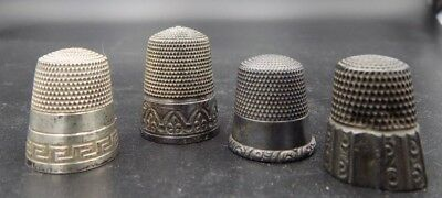 4 Antique Sterling Silver Sewing Thimbles