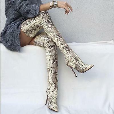 Women's Chic Snake Skin Stiletto Thigh High Boots Over Knee High Boots Nightclub