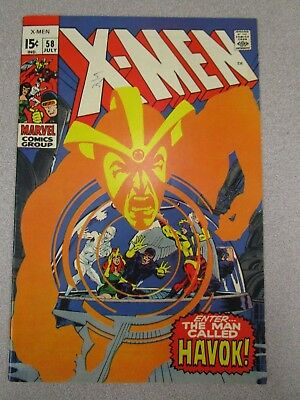 1969 X-Men #58 Marvel Comic Book - Very Nice!! Havok First Appearance
