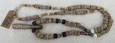 Very Nice Strand Of Old California Trade Beads & Stone Pendant With Docs--Nr!