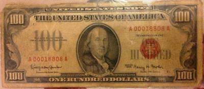 1966 Series US $100 Red Seal Dollar Note
