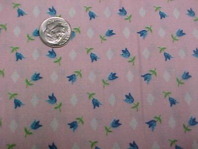 Vintage Antique Cotton Quilt Doll Fabric Blue Tulips on PINK 1930s Depression