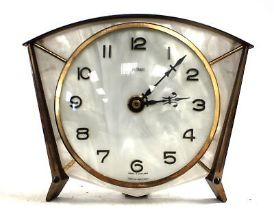 Vintage Retro METAMEC Metal & Mother of Pearl Effect Quartz Mantel CLOCK - N13