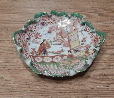 """Antique 9 1/2"""" Handled Crimped Edge Bowl Geisha Ware Green Gold Red"""