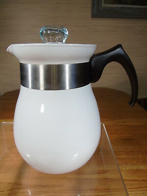 Vintage Corning Ware White Coffee Pot P-166 6 Cup Stove Top NEW!