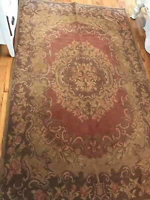 "SISILIA  Cotton Floor Cloth Rug Roses floral Large Vintage 4.9x7.10"" Victorian"
