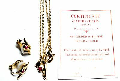 750 18ct GILDED Red RUBY & 0.008ct DIAMOND Earring & Necklace Set, 4.88g - E12