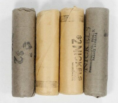 1959 D JEFFERSON NICKELS 5C OLD PAPER WRAPPED ROLLS BU LOT OF 4 ROLLS 160 COINS