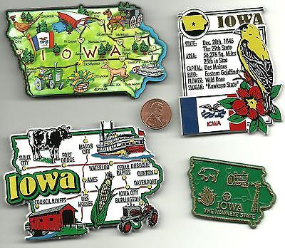 IOWA  MAGNET ASSORTMENT 4 NEW  STATE SOUVENIRS including  JUMBO MAP MAGNET