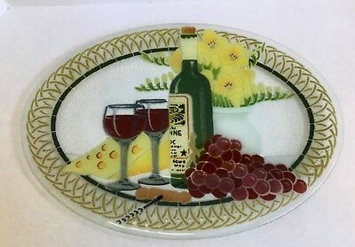 """Peggy Karr 17"""" Large Oval Studio Art Glass Platter Wine Cheese Grapes Signed"""