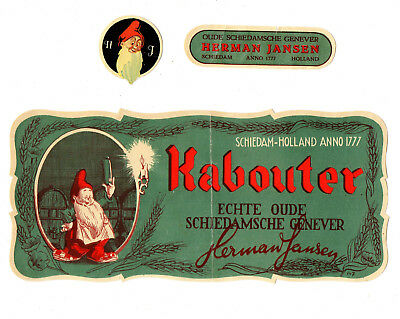 1920s HERMAN JANSEN, SCHIEDAM - HOLLAND KABOUTER GENEVER LIQUOR LABEL SET