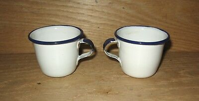 Pair of Vintage White / Blue Trim Enamel Ware Small Cups