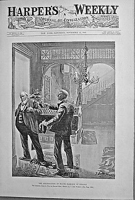 MAYOR HARRISON ASSASSINATION 1893 Harper's Weekly EDWIN BOOTH / GOVERNORS ISLAND