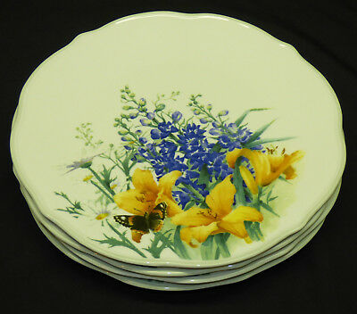 """4 Lenox Floral Meadow Daylily 11"""" Dinner Plate Set w/ Butterfly Dishwasher Safe"""