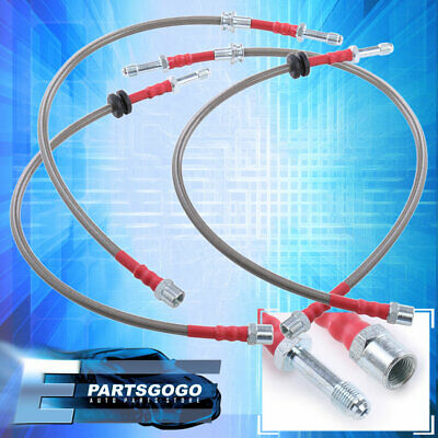1999-2005 BMW E46 Front Rear Stainless Steel Hose Oil Brake Line Cable Red Cap
