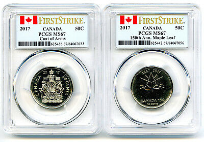2017 Canada 50 Cent Pcgs Ms67 Coat Of Arms & Maple Leaf 150Th Anniv Two Coin Set