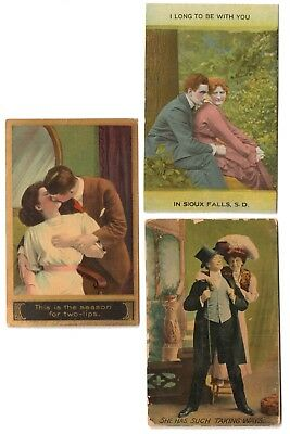 Antique 1910 Romantic Greeting Postcards - Couples Real People / Railway RPO