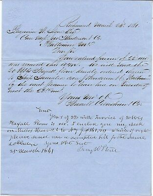 Maritime Merchant Letter to B. Stone for 20 Bbls of Flour, Last Order Before War