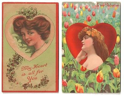1909-1910 VALENTINE'S DAY Postcards - Woman Framed in Heart
