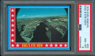 "1974 Topps EVEL KNIEVEL ""Evel's Eye View"" Original Trading Card #53 PSA 8"