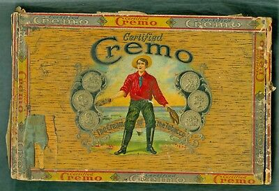 Old Vintage or Antique Certified Cremo Wood Cigar Box (5 Cents)
