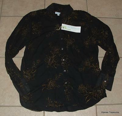 NEW NWT Mens Large 42 / 44 Button Up Black Glitter Floral Cotton Shirt SEAPLANE