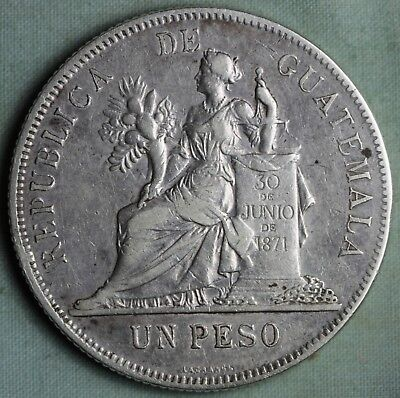 Guatemala 1894 1 Peso Coin KM 210 ~Large Silver (.900)  Crown